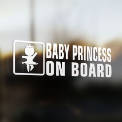 Baby princess on board car sticker