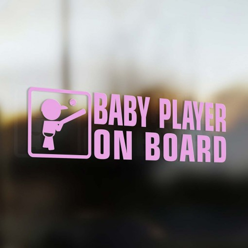 Baby baseball player on board car sticker