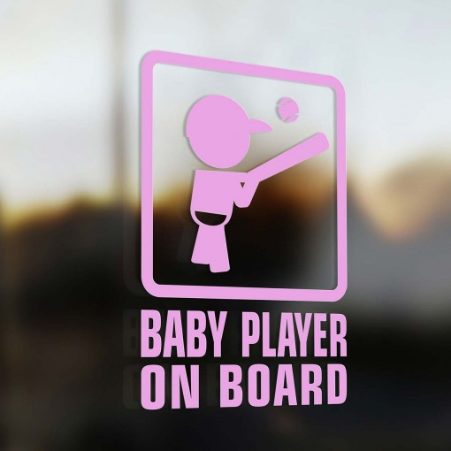 Baby baseball player on board sign