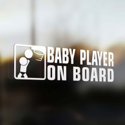 Baby basketball player on board car sticker