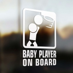 Baby basketball player on board sign