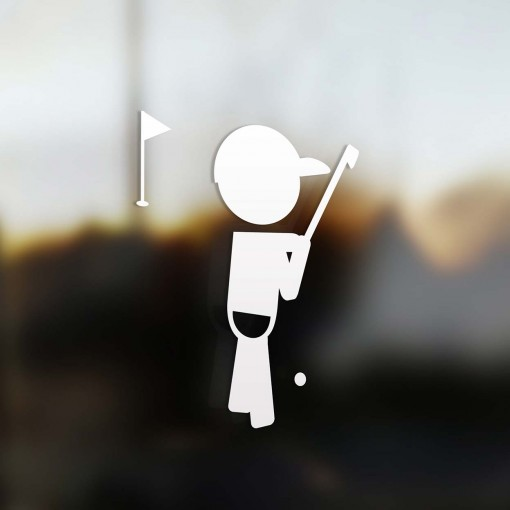 Family boy golfer player sticker