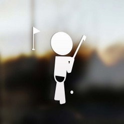 Family boy sticker golfer player