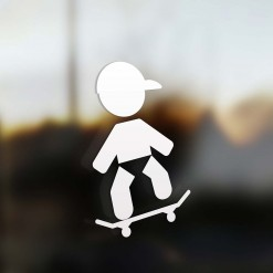 Family boy sticker skate rider