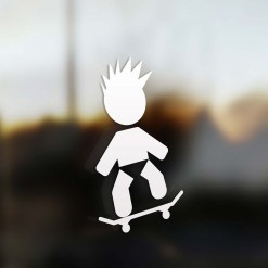Family boy skateboard sticker