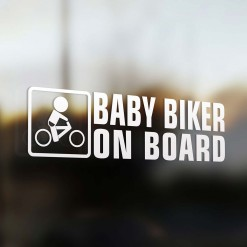 Baby biker on board car sticker