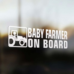 Baby farmer on board car sticker
