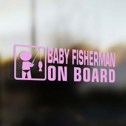 Baby fisherman on board car sticker