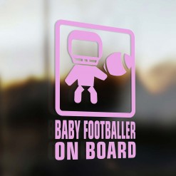 Baby football player on board car sticker