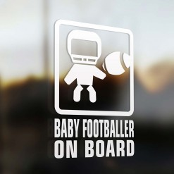 Baby football player on board car sign