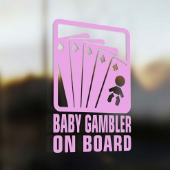 Baby gambler on board car sticker