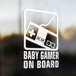 Baby gamer on board car sign