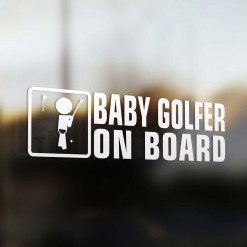 Baby golf player on board car sticker