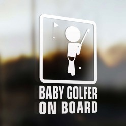 Baby golf player on board car sign