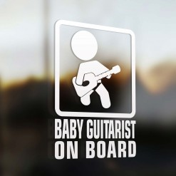 Baby guitarist on board car sign