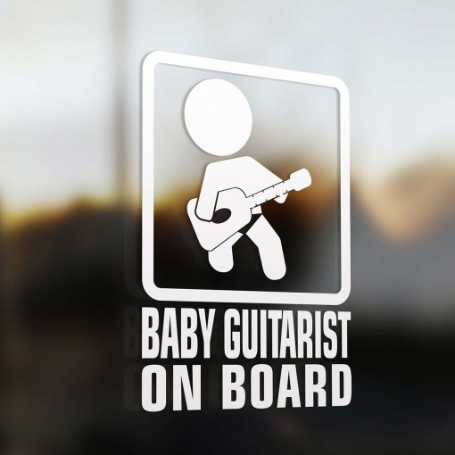 Baby guitarist on board sign