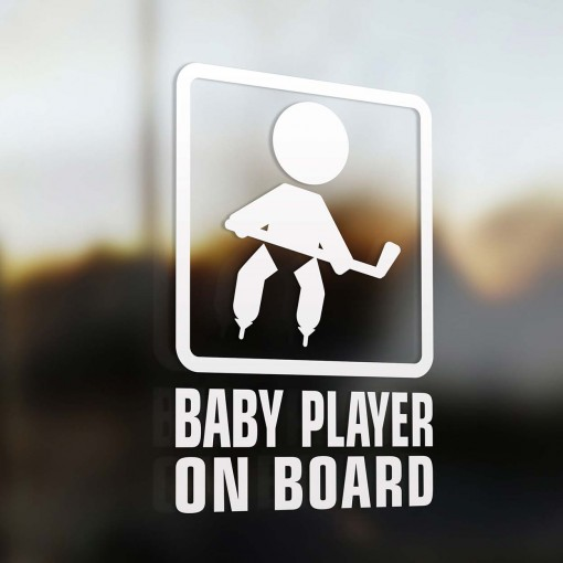 Baby hockey player on board sign