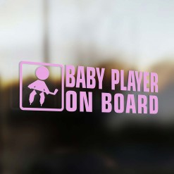 Baby hockey player on board car sticker