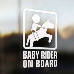 Baby horseback rider on board sign
