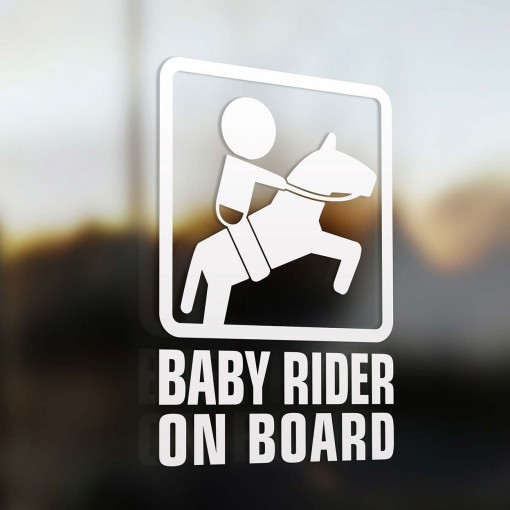 Baby horseback rider on board car sticker