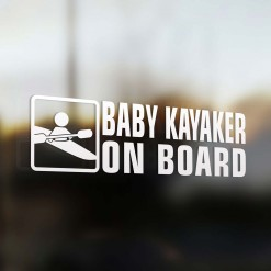 Baby kayaker on board car sticker