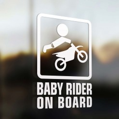 Baby motocross rider on board car sign