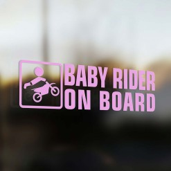 Baby motocross rider on board car sticker