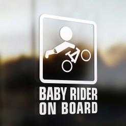 Baby mountain biker on board car sticker