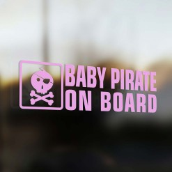Baby pirate on board car sticker