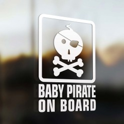 Baby pirate on board car sign