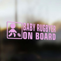 Baby rugbyer on board car sticker