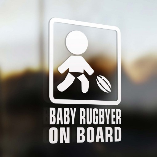 Baby rugbyer on board sign