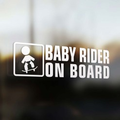 Baby skateboard rider on board car sticker