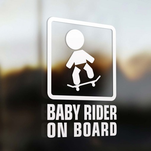 Baby skateboard rider on board sign
