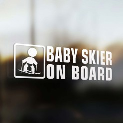 Baby skier on board car sticker