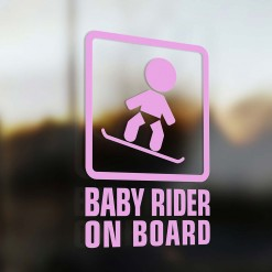 Baby snowboarder on board car sticker