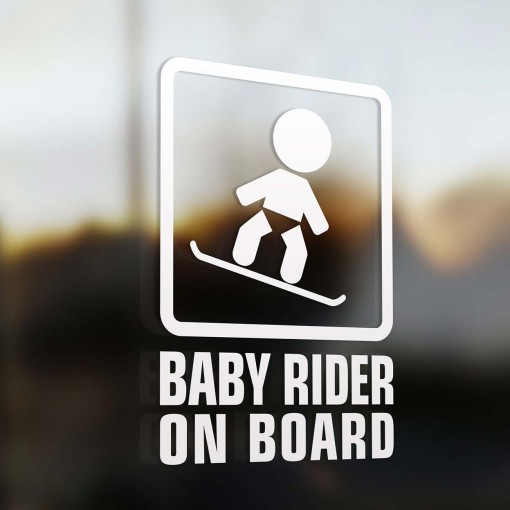 Baby snowboarder on board sign