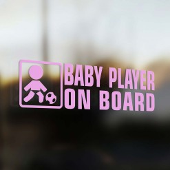 Baby soccer player on board car sticker