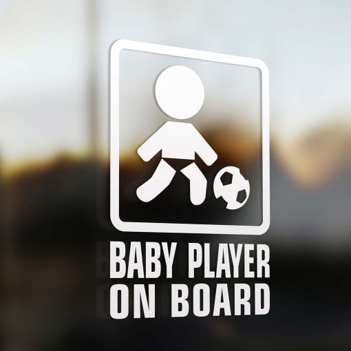 Baby soccer player on board sign