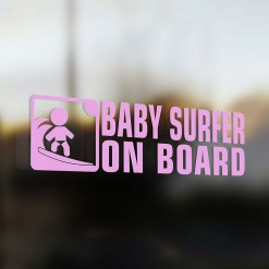 Baby surfer on board car sticker