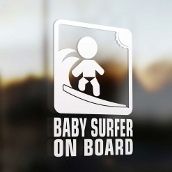 Baby surfer on board car sign