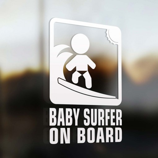 Baby surfer on board sign