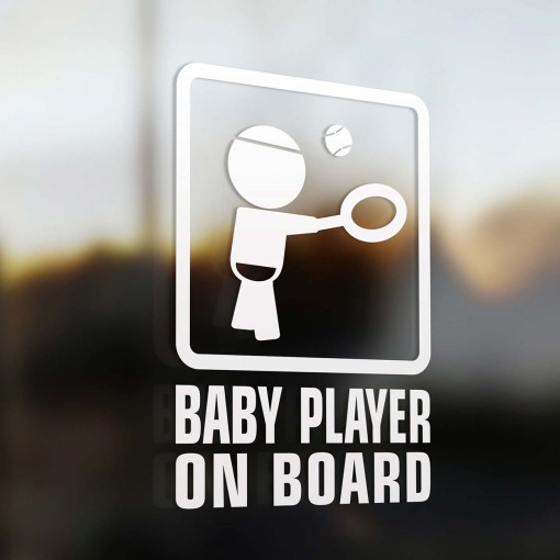 Baby tennis player on board sign