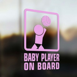 Baby volleyball player on board car sticker