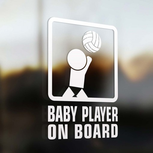 Baby volleyball player on board sign