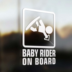 Baby wakeboard rider on board car sign