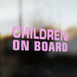 Children on board sticker pink