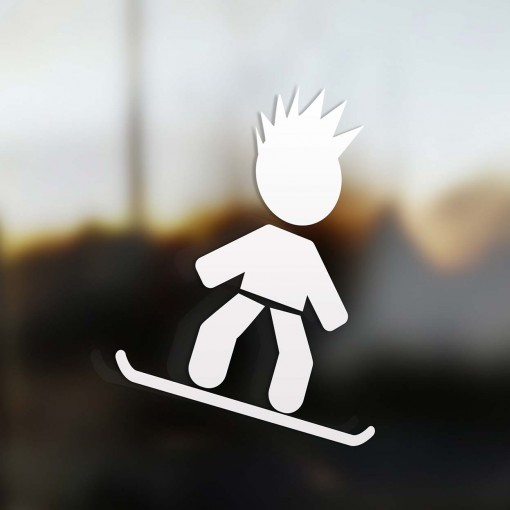 Family dad snowboard rider sticker