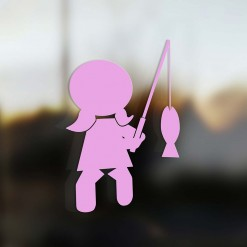 Family Girl sticker fisherman pink