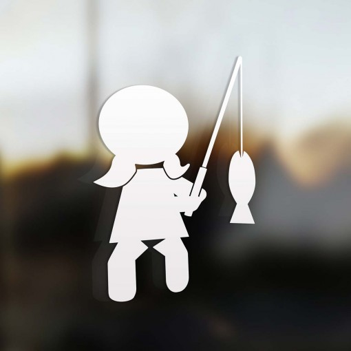 Family Girl fisherman sticker